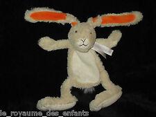 Doudou Lapin écru beige blanc orange tout doux Happy Horse 33 cm