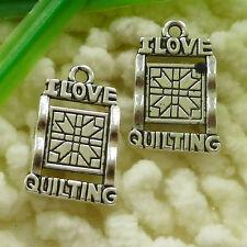 Free Ship 150 pcs tibetan silver love QUILTING charms 21x14mm #1928