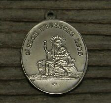 Antique religious silvered medal pendant Saint Roch with his dog