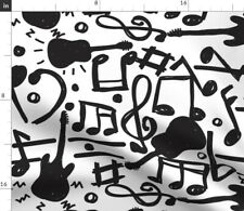 Black And White Guitar Musical Sound Music Fabric Printed by Spoonflower Bty