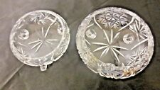 Lot 2 Older 3-Toed Crystal Glass Dresser Dishes: Whirling Star & Star of David