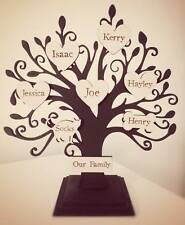 Personalised wooden family tree on stand black shabby chic 15 names NEW
