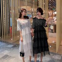 Fashion Womens Summer Off Shoulder Strap Slim Fit Beach Dress Long Chiffon