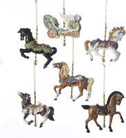 Carousel Horses + Chariot Set of 6 Resin Ornaments Kurt Adler New Circus Carnval
