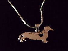 Silver coloured dachshund silhouette necklace