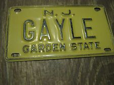 Vintage New Jersey Garden State Mini Bike Gayle Vanity Name License Plate Sign