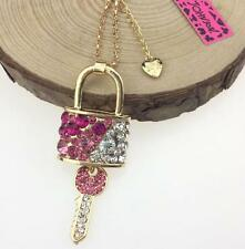 Hot Betsey Johnson Pendant Lock key Enamel Rhinestone Gold Chain Necklace