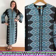 Vtg Navy Blue Heavy EMBROIDERED CAFTAN ethnic robe dress NAVY BLUE Women L
