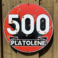 VINTAGE 500 PLATOLENE PORCELAIN METAL SIGN RJ OIL GAS STATION EXPRESS REFINING