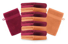 Betz lot de 10 gants de toilette Premium: orange & rouge foncé, 16 x 21 cm