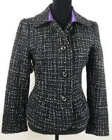 Women's Black and White Georgiou Wool Blend Blazer Jacket Size 4 NWT