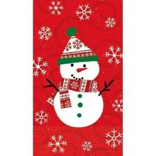 Very Merry Christmas Snowman Paper Hand Guest Napkins 16 Ct