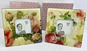 "Set of 2 ELSA L, Inc. Square Glass Picture Frames for 3 x 3"" Photos, Roses Theme"