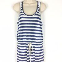 Lou & Grey LOFT Linen Blend Maxi Dress Size Medium Blue White Stripe Beach
