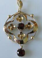 9ct Gold Brooch - 9ct Yellow Gold Garnet Pendant & Chain