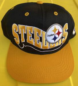 NWOT Vintage Pittsburgh Steelers 2 Tone Wave Snapback Hat Cap NFL Youth
