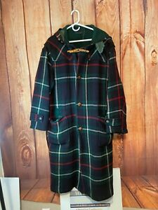 VINTAGE Polo Ralph Lauren Wool Coat Tartan HOODED Plaid Duffle Trench Toggle L
