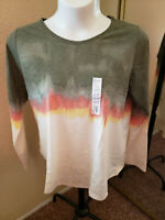 Women's NWT SONOMA Size XXL Everyday Tee Tie-Dyed Long Sleeve Top