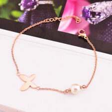New 14K Rose Gold Stainless Steel Butterfly Pearl Charm Womens Chain Bracelet