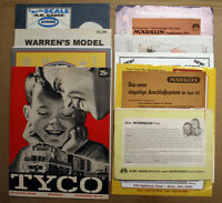 LOT OF 10 MODEL TRAIN CATALOGS & PAPER - MARKLIN, TYCO, RIGHT OF WAY, AURORA