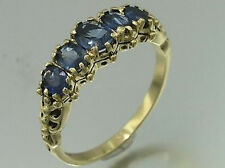 R128- Genuine 9ct 9K Solid Gold NATURAL Sapphire Bridge Ring Anniversary size N