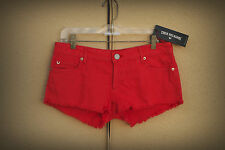 NWT TRUE RELIGION JOEY CUT OFF Size 28 Hot Mini Denim Short Shorts $169 Red