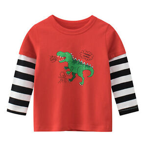 Boys Pullover T-shirt Dinosaur Print Shirt Long Sleeve Tops Children Daily Wear