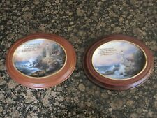 "Thomas Kinkade ""The Light of Peace & Beacon of Hopes"" Oval framed plates"