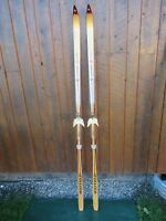 """BEAUTIFUL VINTAGE HICKORY Wooden 75"""" Skis Has Wood + BROWN Finish LAMPINEN"""