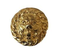 Vintage Gold Tone Metal Lion Head Relief Button
