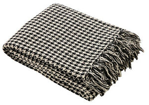 Black Armchair Chair Throw Blanket Covering 100% Cotton Houndstooth 177 x 228cm