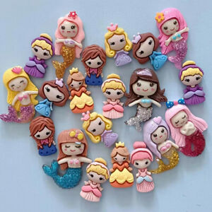 20pc Mixed Cartoon Resin Mermaid Girls Flatback Buttons Cabochons Embellishments