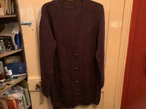 Ladies Purple Longline Cardigan Size 2XL