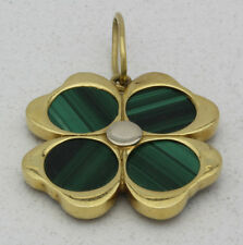 18k Yellow Gold & Malachite Lucky Four Leaf Clover/Shamrock Pendant!!