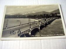 LOVELY OLD PPC~GENÈVE~PONT DU MONT-BLANC et le MONT BLANC~ca 1924~ANIMATED