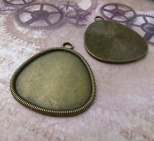 Big Antique Bronze triangulaire cabochon résine base Setting - 2pcs
