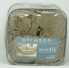 Sure Fit Stretch Pinstripe 2-Piece Loveseat Slipcover - Taupe