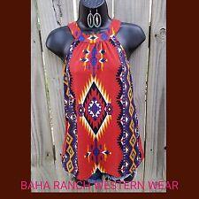 COWGIRL Gypsy Aztec Halter Tribal Southwestern Western top shirt NWT Medium