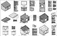 10' x 14' Storage Shed Plans Slant / Lean To #D1014L, Material List Included