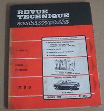 Revue technique  RTA 286 NSU 4 cylindres