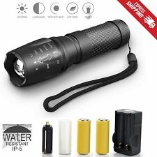 LED Zoom Tactical Flashlight G700 X800 Battery Charger Shadowhawk Super Bright