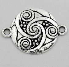 3 connecteurs ronds spirales gravées en métal couleur argentée 28 x 21 mm