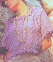 """Cable Top in DK Cotton with Fancy Collar & Borders 32"""" - 42"""" Knitting Pattern"""