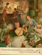 1940s ad, Beer & Ale, US Brewer's Foundation, Great Art by Sundblom!- 070313