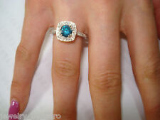 1.40 CT ENHANCED BLUE & WHITE DIAMONDS ENGAGEMENT RING 14K WHITE GOLD HANDMADE