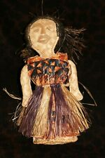 "Rare Old Native Costume Fiber & Tapa Doll Attributed to Samoa or Fiji 11 1/2""h"