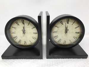 Functional Traditional Clock Book Ends Bookends Metal