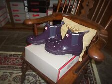 HUNTER WELLIES WELLINGTONS IN HALIFAX SIZE 6 CHELSEA BOOT PURPLE URCHIN GLOSS