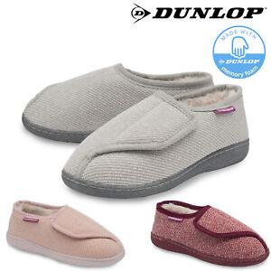 Dunlop Ladies Womens Slippers Memory Foam Diabetic Comfy Cozy Rip Tape Size 3-8