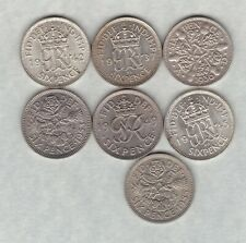 More details for seven sixpences 1936/1937/1942/1945/1949/1953 & 1955 in near mint condition